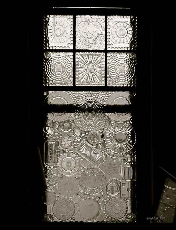 vintage window glass on glass art