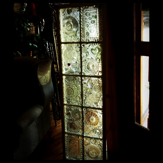 vintage window glass on glass