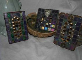 Purple Tile and Stained Glass Mosaic Tile Lightswitch Covers