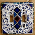 Blue and White Mosaic Tile LIghtswitch Cover