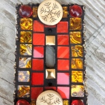 Orange and Red Mosaic Tile Light-Switch Cover