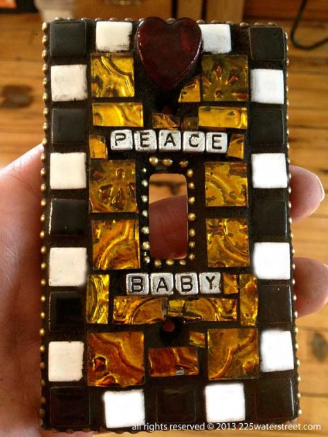 Peace Baby Mosaic Tile LIght Switch Cover