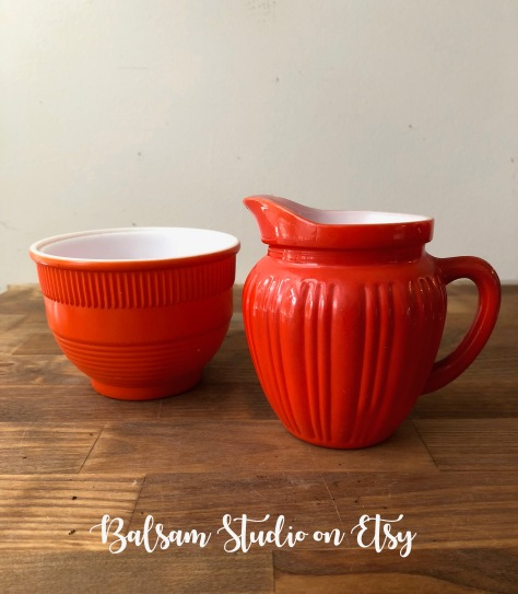 Vintage Androck Orange Bowl and maybe a Vintage Hazel Atlas Orange Creamer