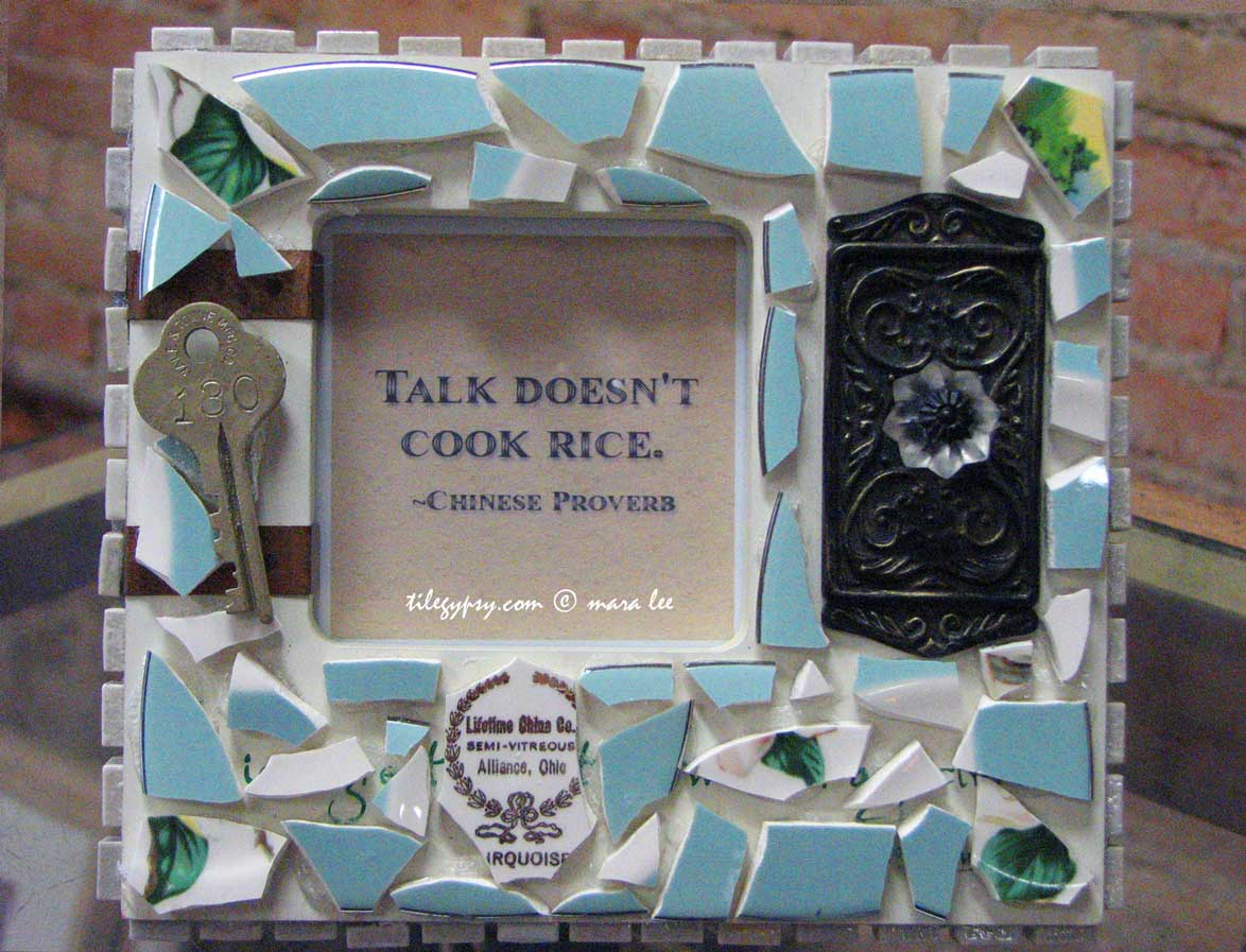 mosaic tile picture frame with quote
